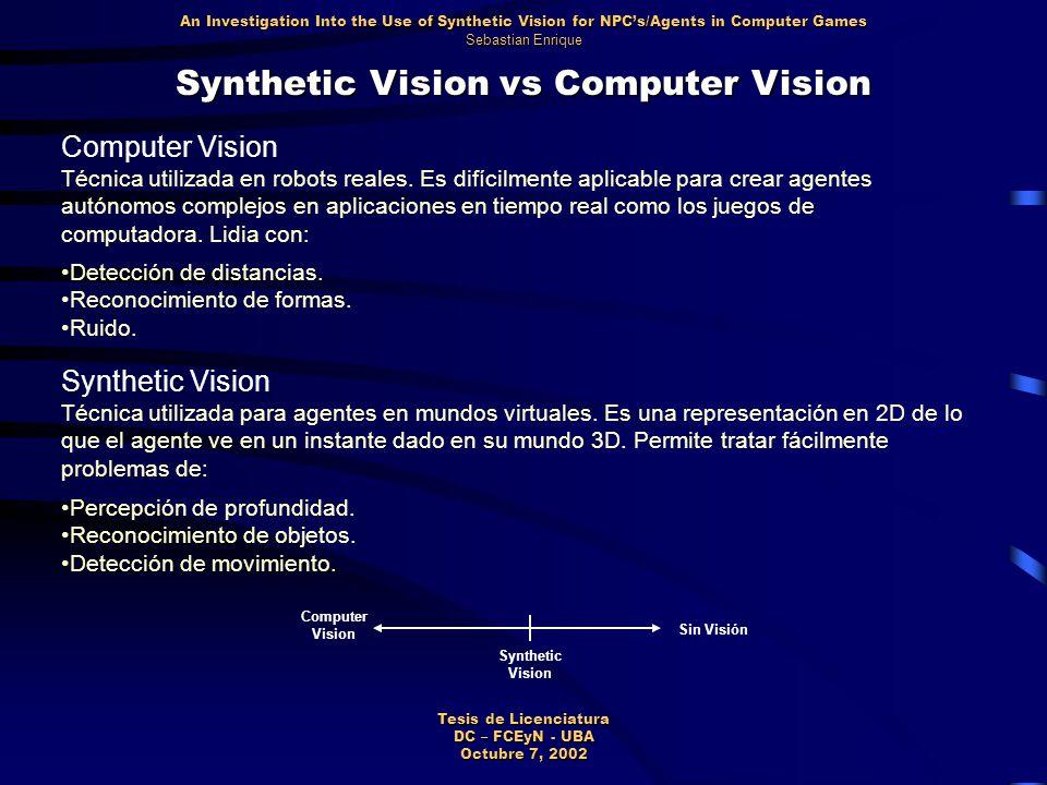 Synthetic Vision vs Computer Vision Computer Vision Técnica utilizada en robots reales.