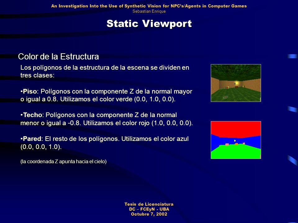 Static Viewport Color de la Estructura Los polígonos de la estructura de la escena se dividen en tres clases: Piso: Polígonos con la componente Z de la normal mayor o igual a 0.8.