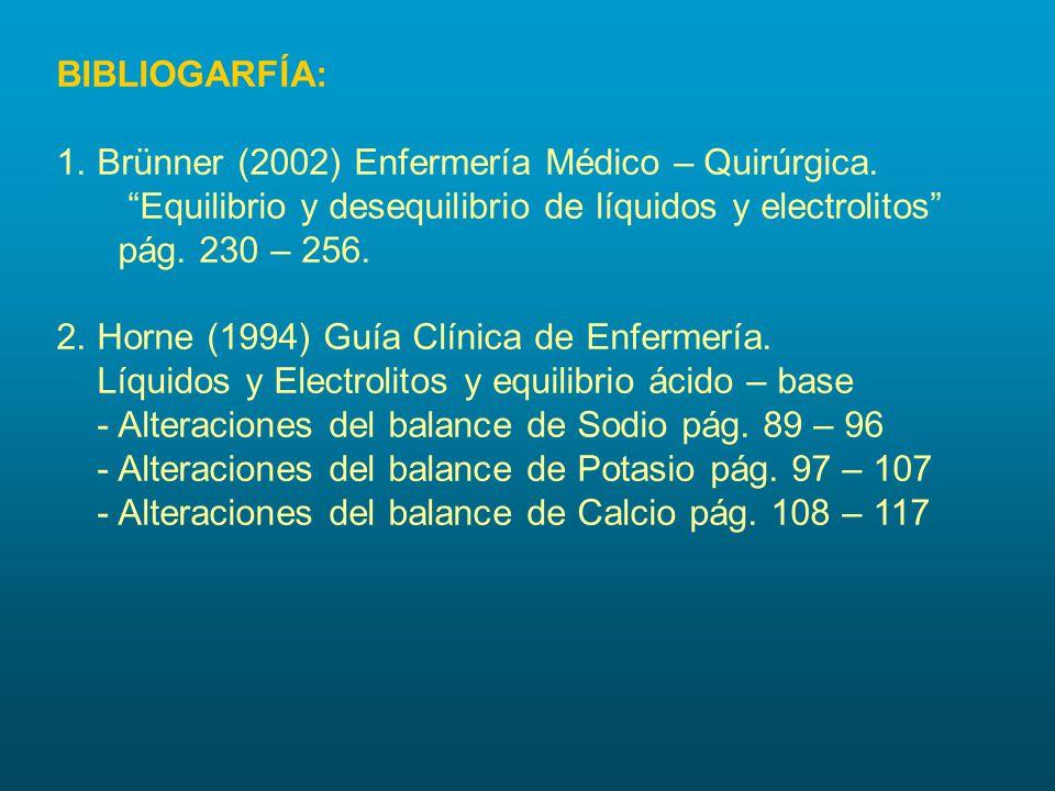 """BIBLIOGARFÍA: 1. Brünner (2002) Enfermería Médico – Quirúrgica. """"Equilibrio y desequilibrio de líquidos y electrolitos"""" pág. 230 – 256. 2. Horne (1994"""