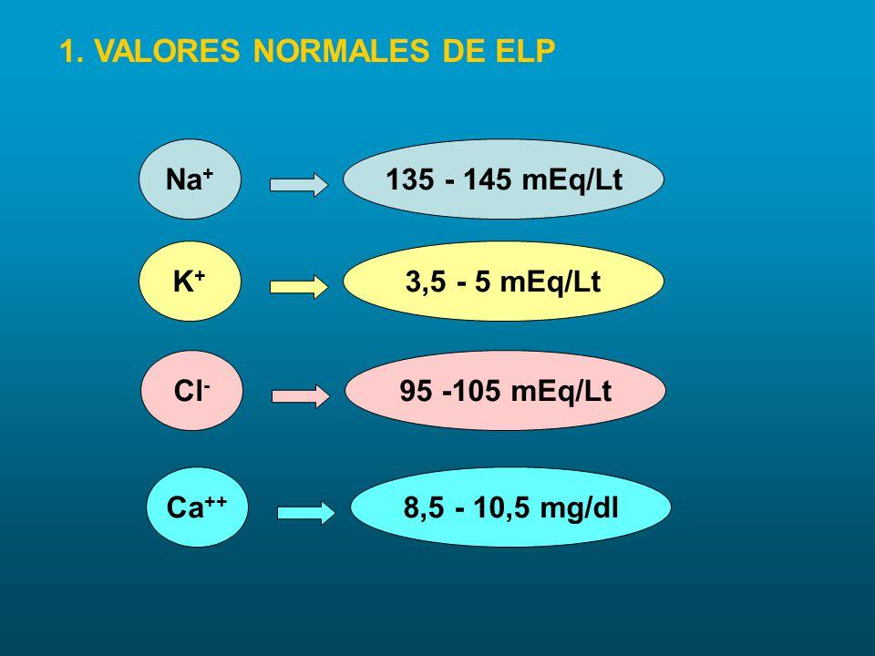 1. VALORES NORMALES DE ELP Na + 135 - 145 mEq/Lt K+K+ 3,5 - 5 mEq/Lt Cl - 95 -105 mEq/Lt Ca ++ 8,5 - 10,5 mg/dl
