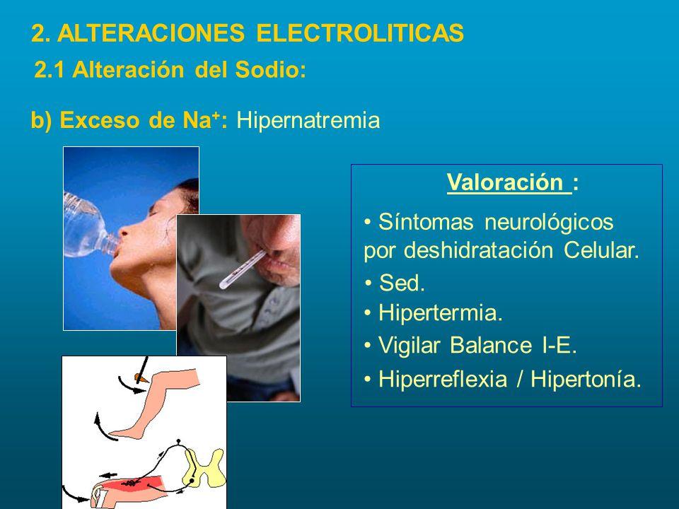 Valoración : Síntomas neurológicos por deshidratación Celular. Hiperreflexia / Hipertonía. Sed. Hipertermia. Vigilar Balance I-E. b) Exceso de Na + :
