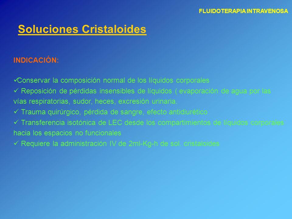 FLUIDOTERAPIA INTRAVENOSA Soluciones Cristaloides INDICACIÓN: Conservar la composición normal de los líquidos corporales Reposición de pérdidas insens