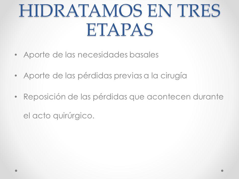 HIDRATAMOS EN TRES ETAPAS Aporte de las necesidades basales Aporte de las pérdidas previas a la cirugía Reposición de las pérdidas que acontecen durante el acto quirúrgico.