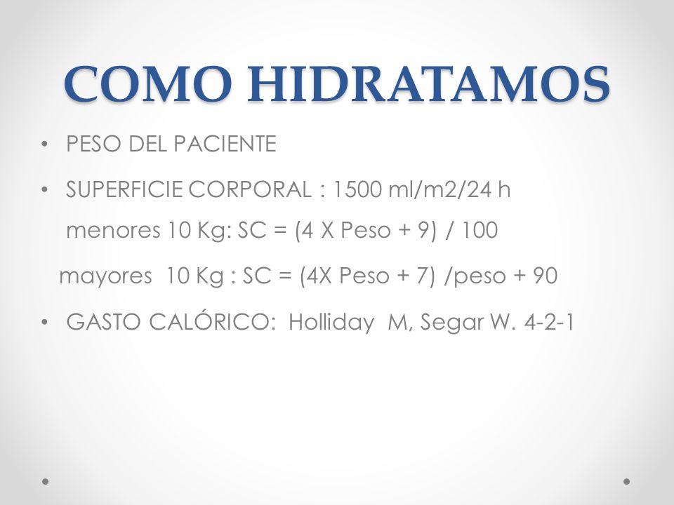 COMO HIDRATAMOS PESO DEL PACIENTE SUPERFICIE CORPORAL : 1500 ml/m2/24 h menores 10 Kg: SC = (4 X Peso + 9) / 100 mayores 10 Kg : SC = (4X Peso + 7) /peso + 90 GASTO CALÓRICO: Holliday M, Segar W.