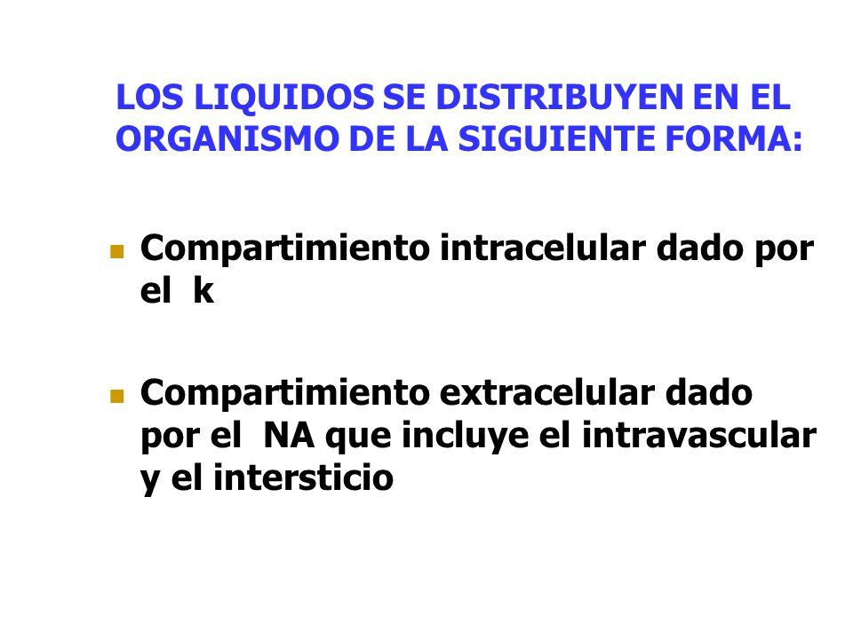 LOS LIQUIDOS SE DISTRIBUYEN EN EL ORGANISMO DE LA SIGUIENTE FORMA: Compartimiento intracelular dado por el k Compartimiento extracelular dado por el N