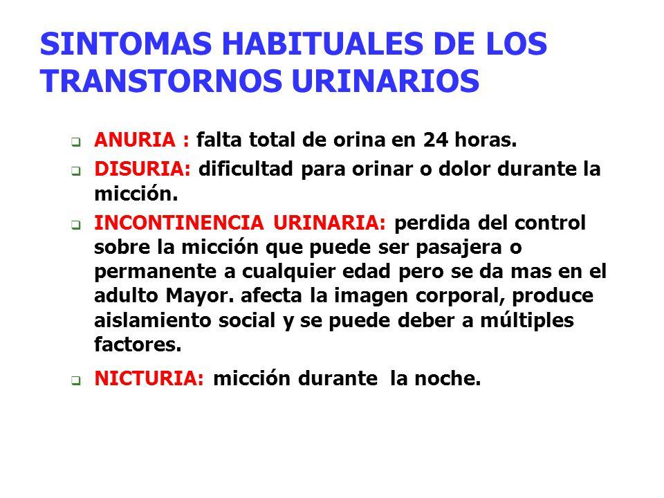 SINTOMAS HABITUALES DE LOS TRANSTORNOS URINARIOS  ANURIA : falta total de orina en 24 horas.  DISURIA: dificultad para orinar o dolor durante la mic