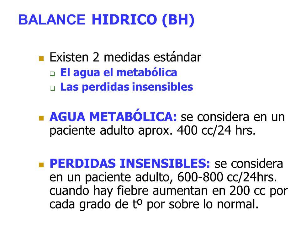 BALANCE HIDRICO (BH) Existen 2 medidas estándar  El agua el metabólica  Las perdidas insensibles AGUA METABÓLICA: se considera en un paciente adulto