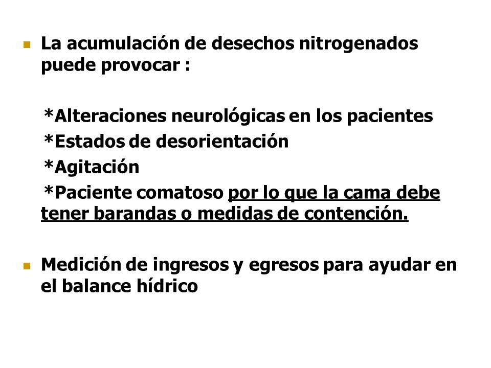 La acumulación de desechos nitrogenados puede provocar : *Alteraciones neurológicas en los pacientes *Estados de desorientación *Agitación *Paciente c