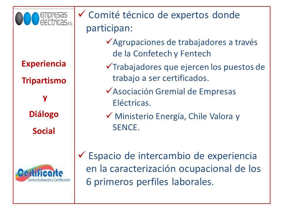 Experiencia Tripartismo y Diálogo Social Comité técnico de expertos donde participan: Agrupaciones de trabajadores a través de la Confetech y Fentech Trabajadores que ejercen los puestos de trabajo a ser certificados.