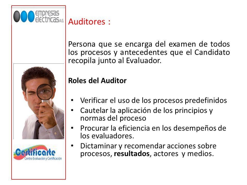 Auditores : Persona que se encarga del examen de todos los procesos y antecedentes que el Candidato recopila junto al Evaluador.