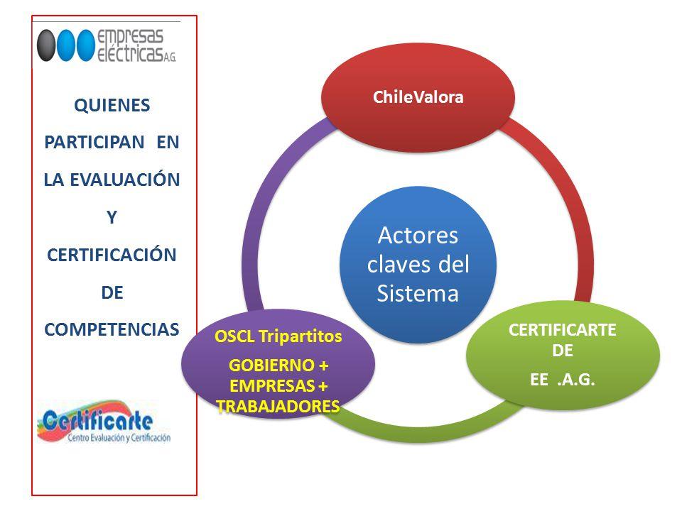 QUIENES PARTICIPAN EN LA EVALUACIÓN Y CERTIFICACIÓN DE COMPETENCIAS Actores claves del Sistema ChileValora CERTIFICARTE DE EE.A.G.
