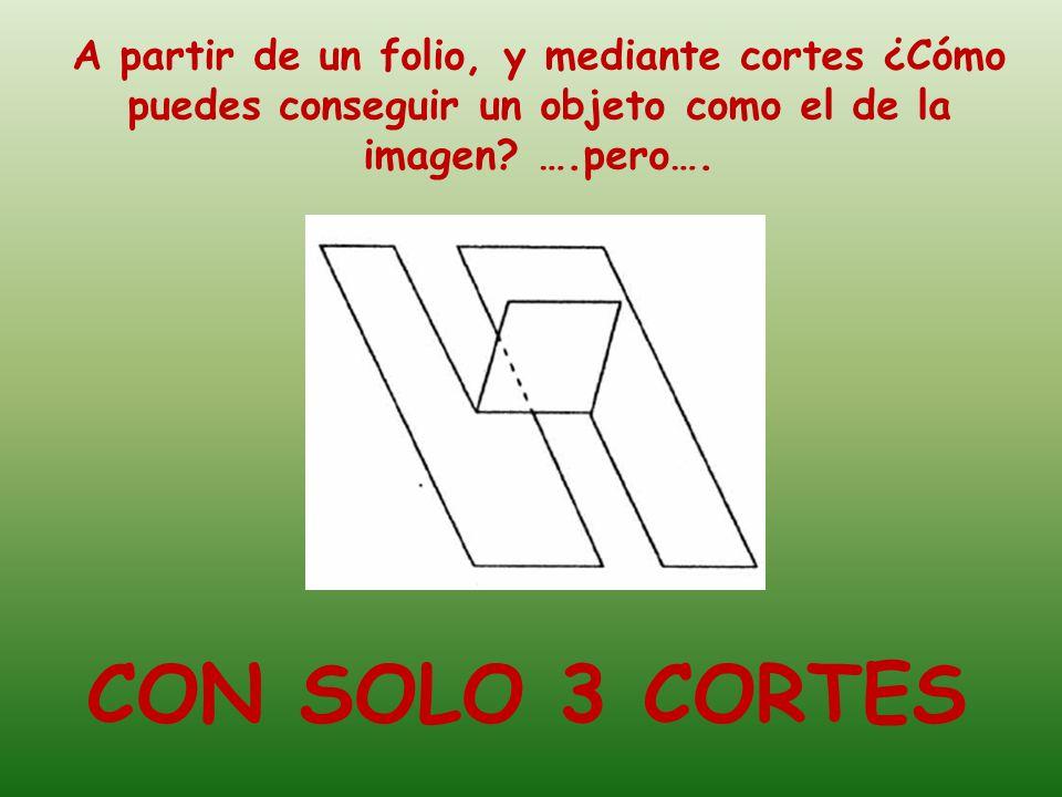 A partir de un folio, y mediante cortes ¿Cómo puedes conseguir un objeto como el de la imagen.