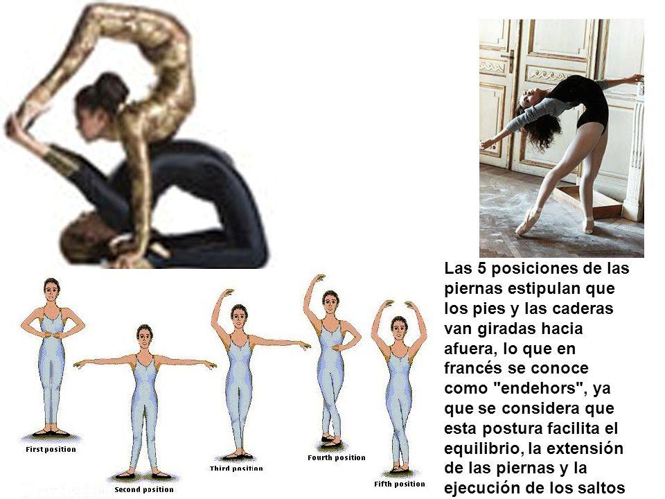 Las 5 posiciones de las piernas estipulan que los pies y las caderas van giradas hacia afuera, lo que en francés se conoce como
