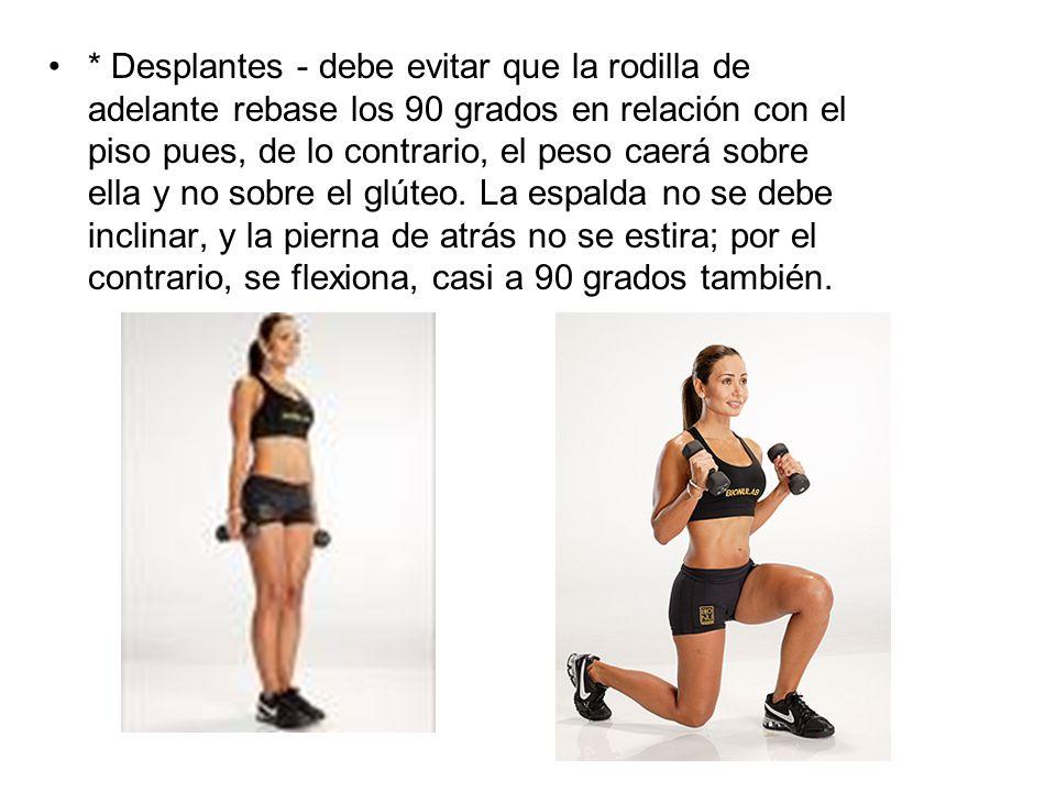 * Desplantes - debe evitar que la rodilla de adelante rebase los 90 grados en relación con el piso pues, de lo contrario, el peso caerá sobre ella y n