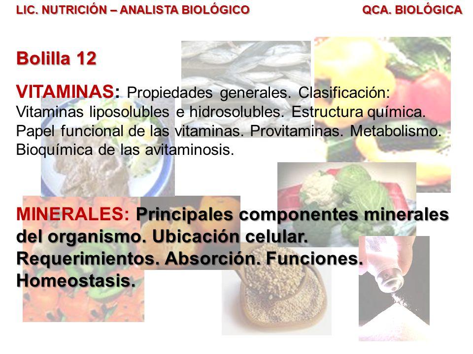 LIC. NUTRICIÓN – ANALISTA BIOLÓGICO QCA. BIOLÓGICA Bolilla 12 VITAMINAS: Propiedades generales. Clasificación: Vitaminas liposolubles e hidrosolubles.