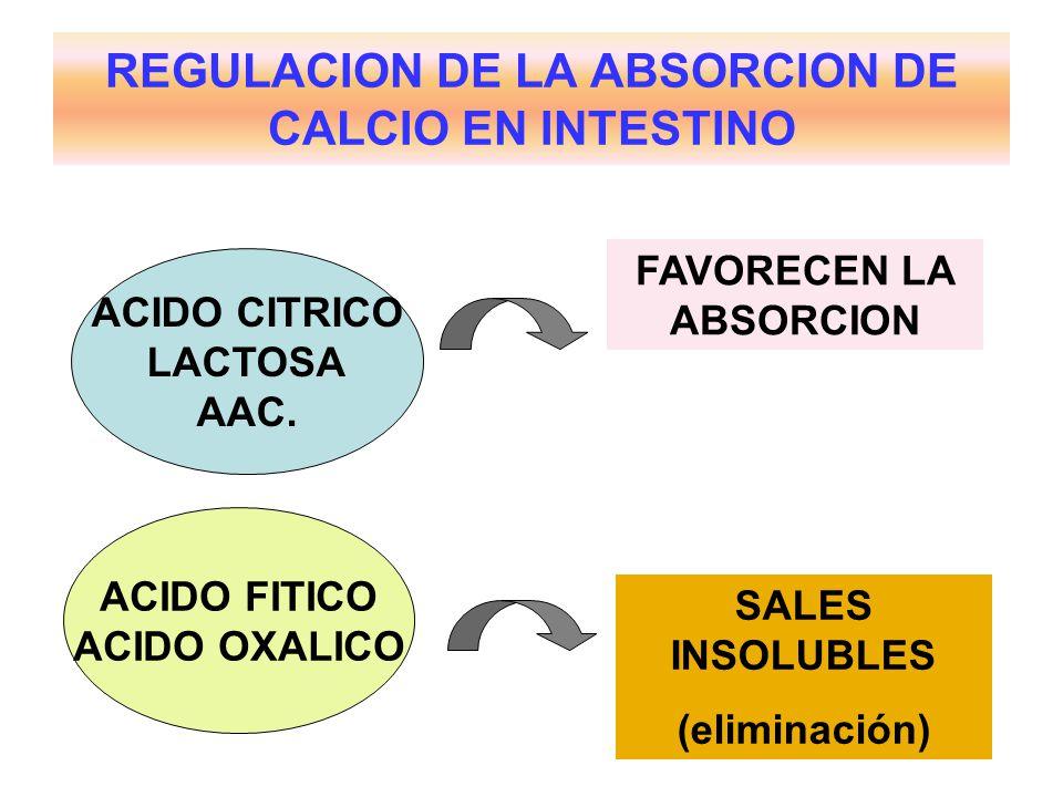 REGULACION DE LA ABSORCION DE CALCIO EN INTESTINO ACIDO CITRICO LACTOSA AAC. ACIDO FITICO ACIDO OXALICO FAVORECEN LA ABSORCION SALES INSOLUBLES (elimi