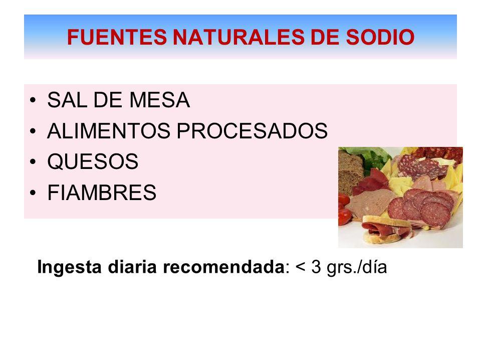 FUENTES NATURALES DE SODIO SAL DE MESA ALIMENTOS PROCESADOS QUESOS FIAMBRES Ingesta diaria recomendada: < 3 grs./día