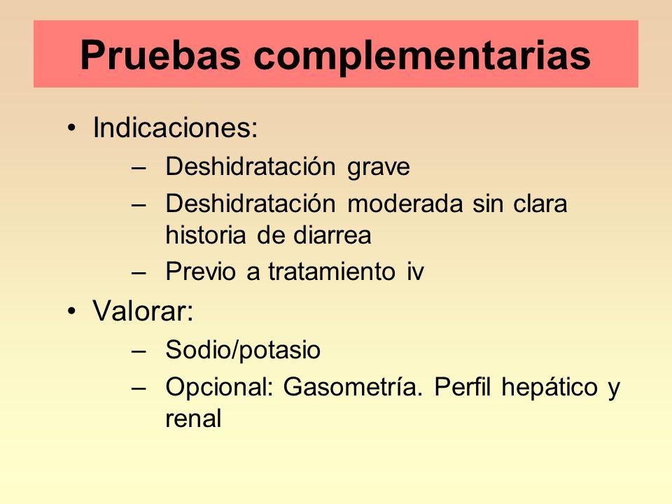 Pruebas complementarias Indicaciones: –Deshidratación grave –Deshidratación moderada sin clara historia de diarrea –Previo a tratamiento iv Valorar: –Sodio/potasio –Opcional: Gasometría.