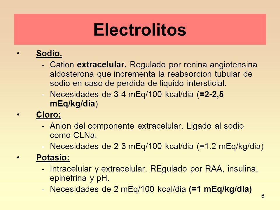 7 Consecuencias de igualación de solutos a un lado y otro de la membrana celular DEshidratación hiponatrémica (Sodio <130 mEq/L) Paso de liquido de extracelular a intracelular.