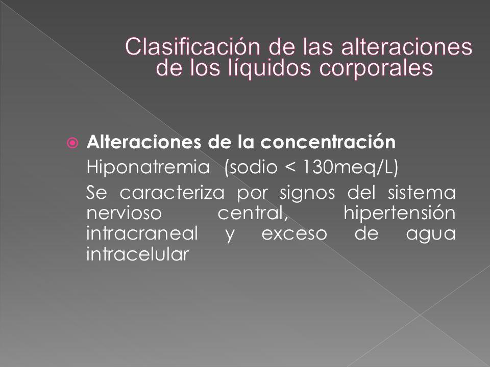  Alteraciones de la concentración Hiponatremia (sodio < 130meq/L) Se caracteriza por signos del sistema nervioso central, hipertensión intracraneal y