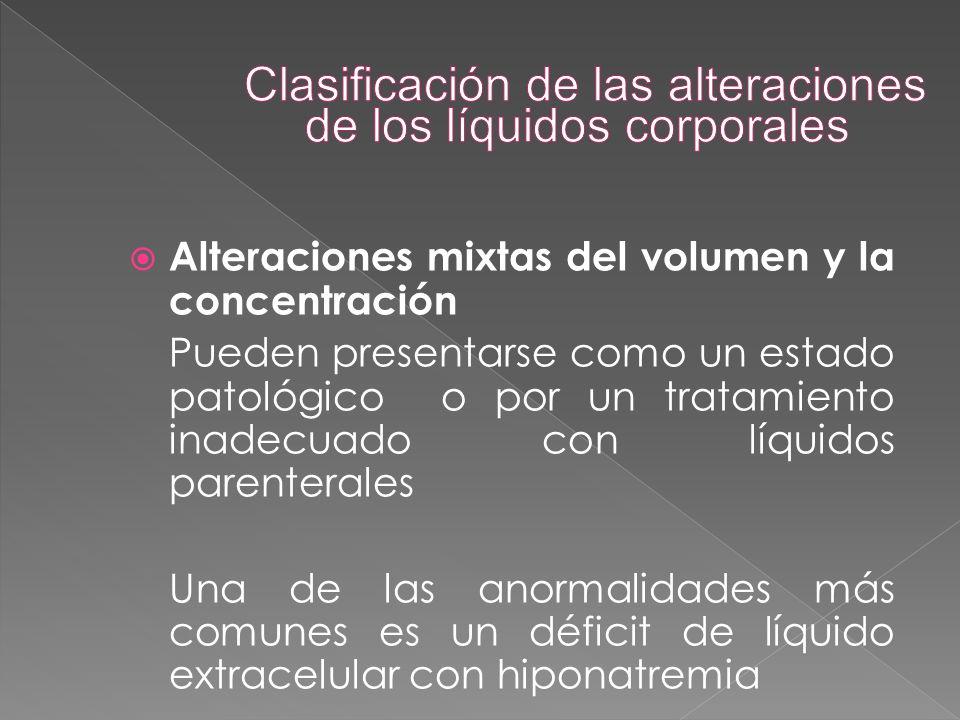  Alteraciones mixtas del volumen y la concentración Pueden presentarse como un estado patológico o por un tratamiento inadecuado con líquidos parente