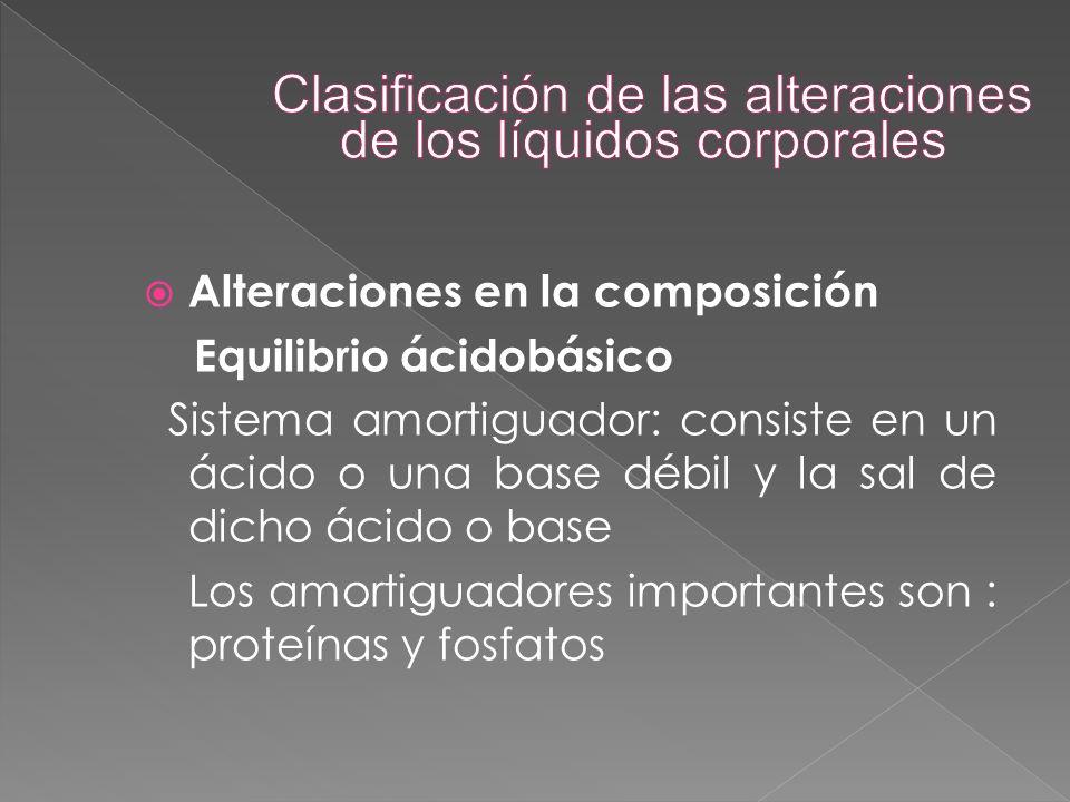  Alteraciones en la composición Equilibrio ácidobásico Sistema amortiguador: consiste en un ácido o una base débil y la sal de dicho ácido o base Los