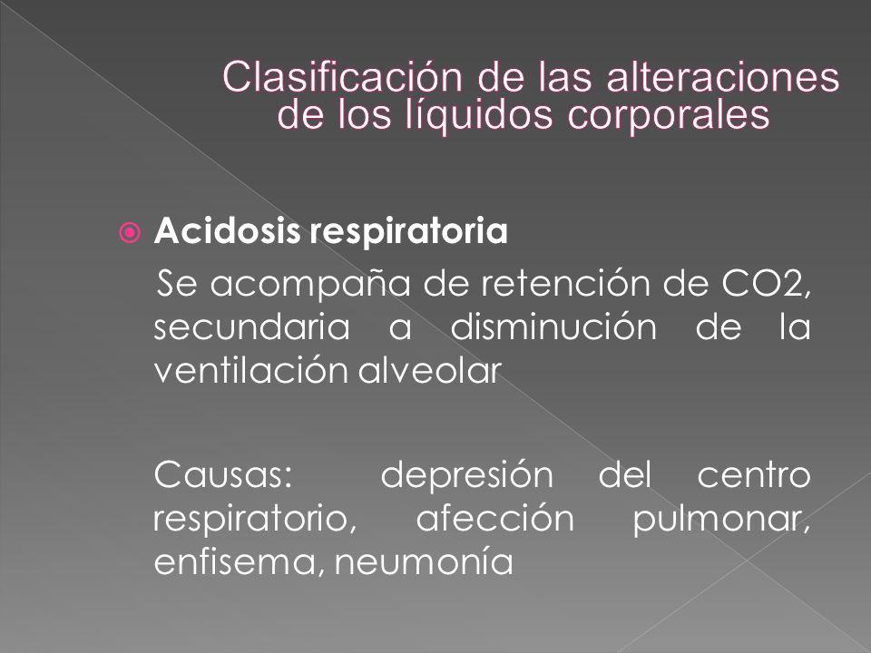  Acidosis respiratoria Se acompaña de retención de CO2, secundaria a disminución de la ventilación alveolar Causas: depresión del centro respiratorio