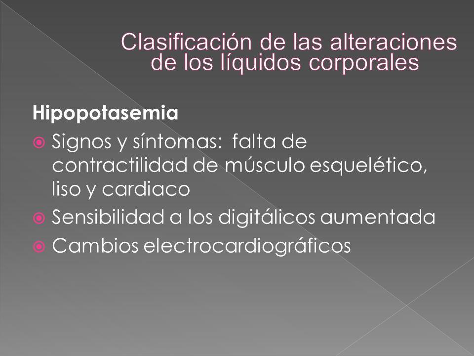 Hipopotasemia  Signos y síntomas: falta de contractilidad de músculo esquelético, liso y cardiaco  Sensibilidad a los digitálicos aumentada  Cambio