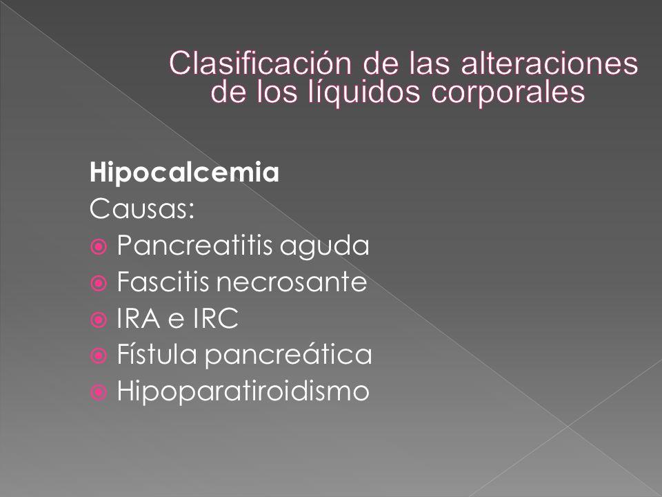 Hipocalcemia Causas:  Pancreatitis aguda  Fascitis necrosante  IRA e IRC  Fístula pancreática  Hipoparatiroidismo