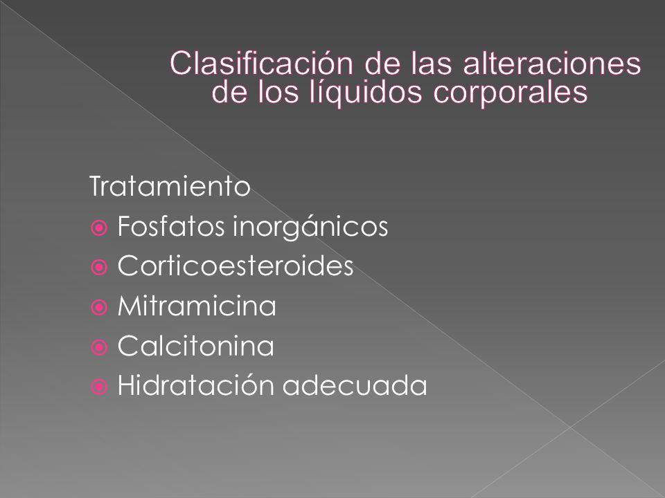 Tratamiento  Fosfatos inorgánicos  Corticoesteroides  Mitramicina  Calcitonina  Hidratación adecuada