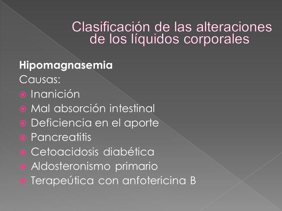 Hipomagnasemia Causas:  Inanición  Mal absorción intestinal  Deficiencia en el aporte  Pancreatitis  Cetoacidosis diabética  Aldosteronismo prim