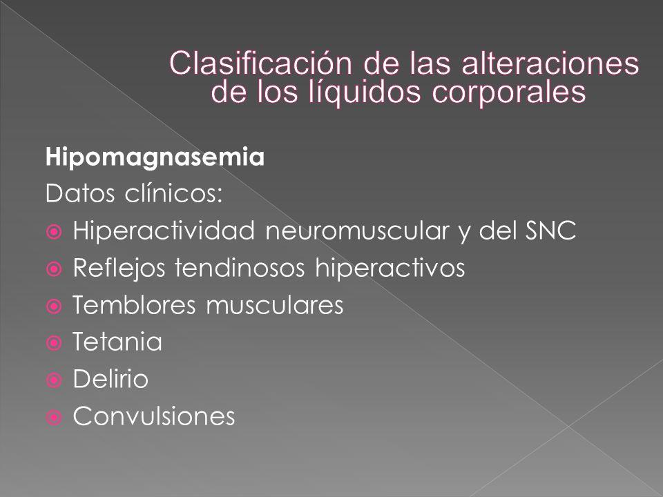 Hipomagnasemia Datos clínicos:  Hiperactividad neuromuscular y del SNC  Reflejos tendinosos hiperactivos  Temblores musculares  Tetania  Delirio