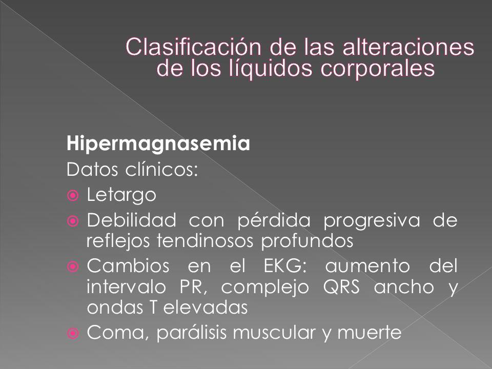 Hipermagnasemia Datos clínicos:  Letargo  Debilidad con pérdida progresiva de reflejos tendinosos profundos  Cambios en el EKG: aumento del interva