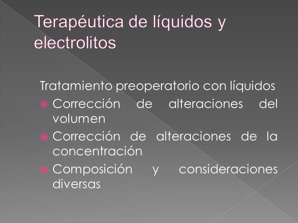 Tratamiento preoperatorio con líquidos  Corrección de alteraciones del volumen  Corrección de alteraciones de la concentración  Composición y consi