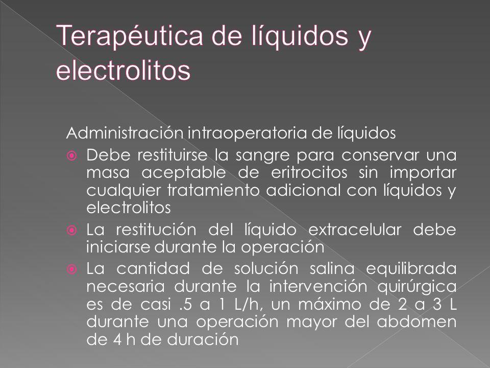 Administración intraoperatoria de líquidos  Debe restituirse la sangre para conservar una masa aceptable de eritrocitos sin importar cualquier tratam