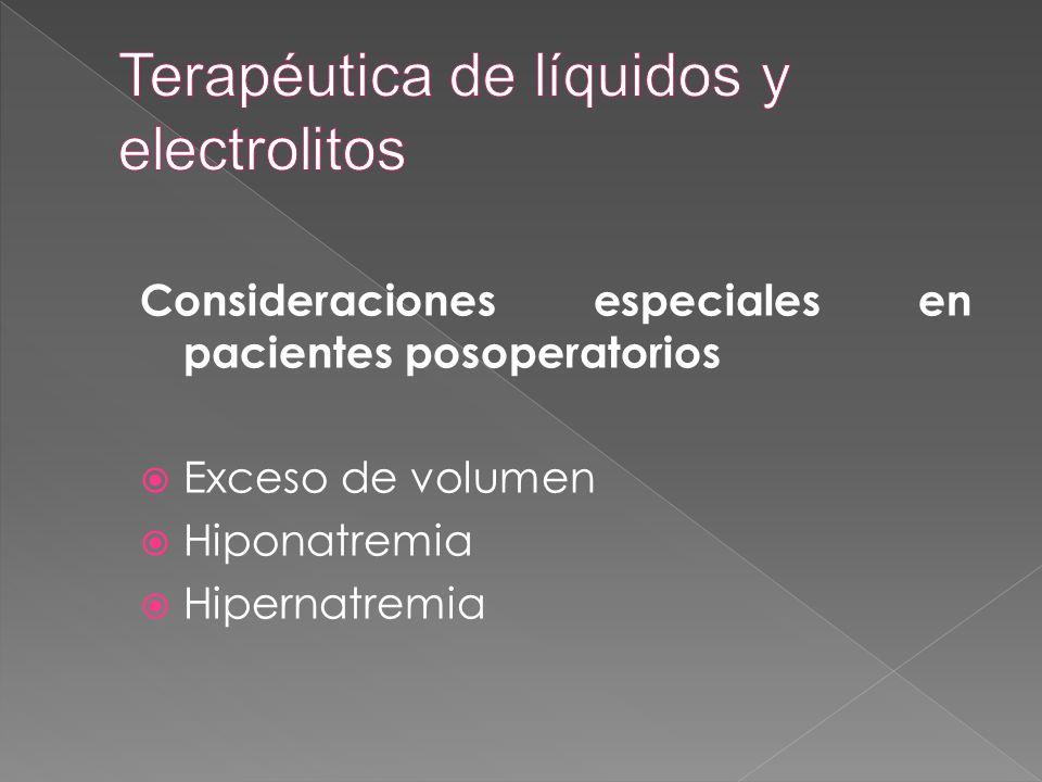 Consideraciones especiales en pacientes posoperatorios  Exceso de volumen  Hiponatremia  Hipernatremia