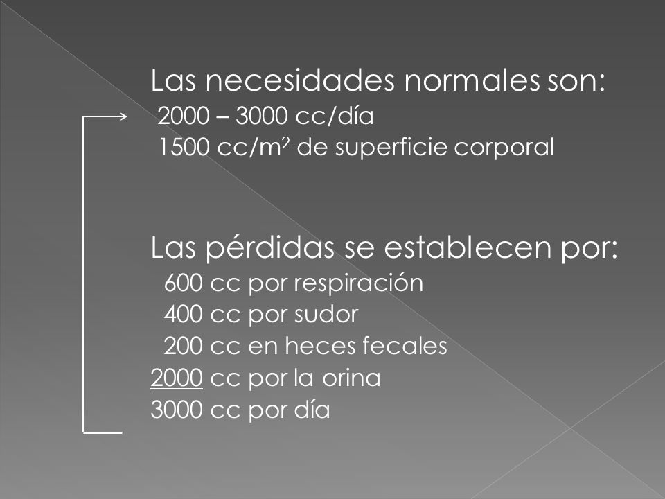 Las necesidades normales son: 2000 – 3000 cc/día 1500 cc/m 2 de superficie corporal Las pérdidas se establecen por: 600 cc por respiración 400 cc por
