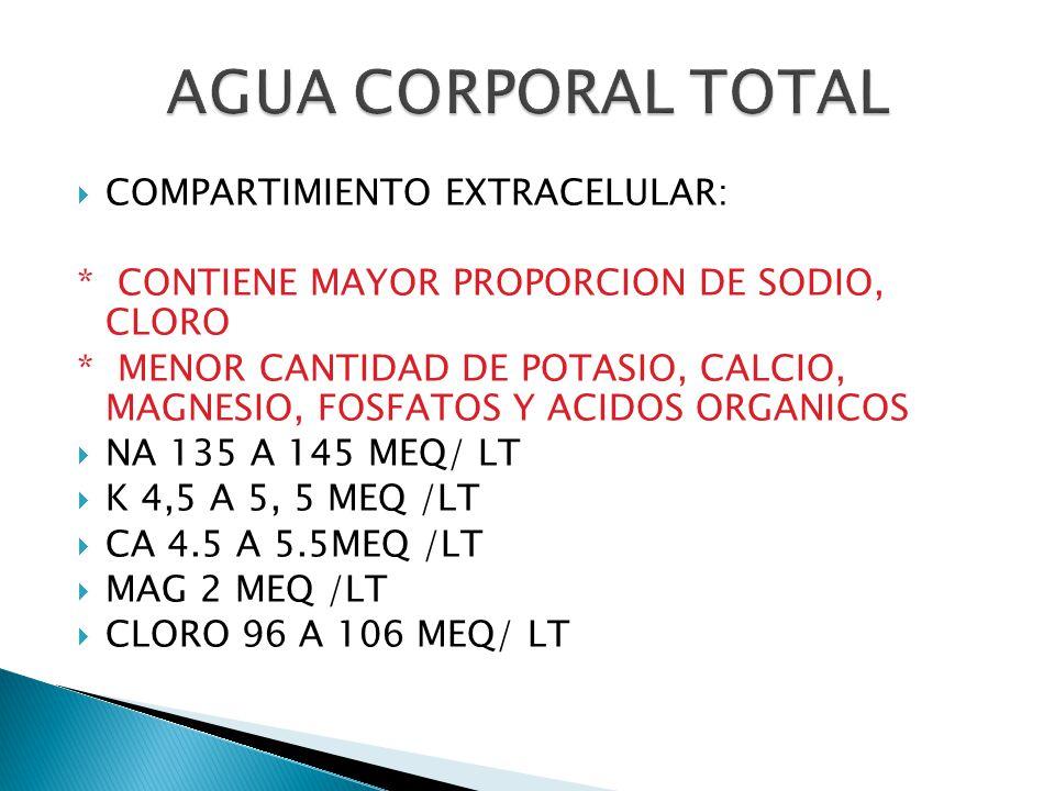  COMPARTIMIENTO EXTRACELULAR: * CONTIENE MAYOR PROPORCION DE SODIO, CLORO * MENOR CANTIDAD DE POTASIO, CALCIO, MAGNESIO, FOSFATOS Y ACIDOS ORGANICOS  NA 135 A 145 MEQ/ LT  K 4,5 A 5, 5 MEQ /LT  CA 4.5 A 5.5MEQ /LT  MAG 2 MEQ /LT  CLORO 96 A 106 MEQ/ LT