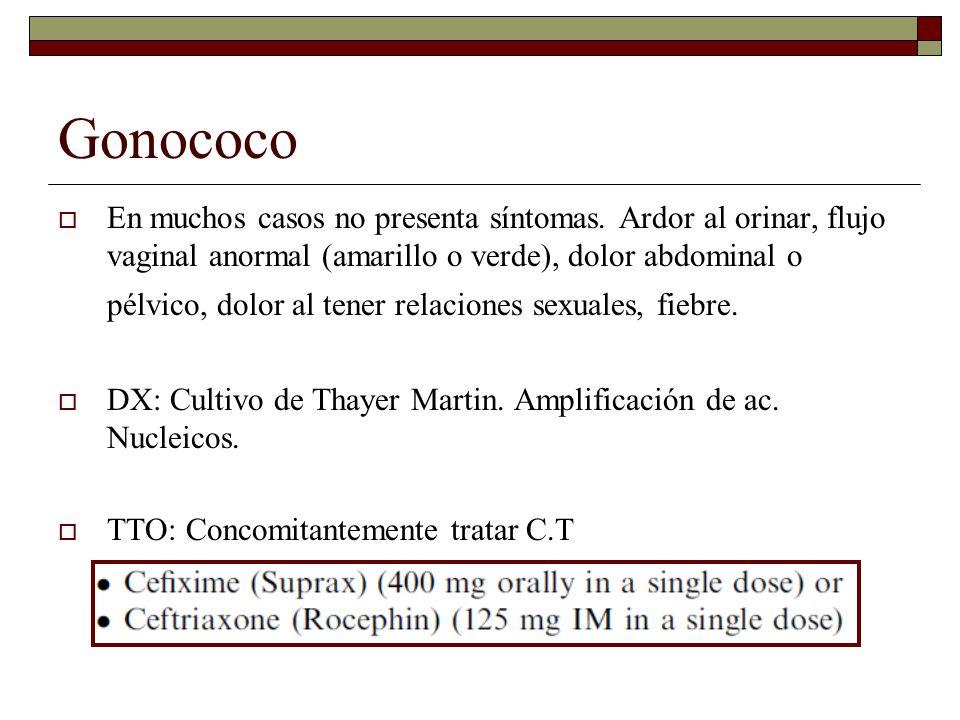 Gonococo  En muchos casos no presenta síntomas.
