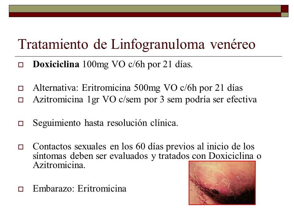 Tratamiento de Linfogranuloma venéreo  Doxiciclina 100mg VO c/6h por 21 días.