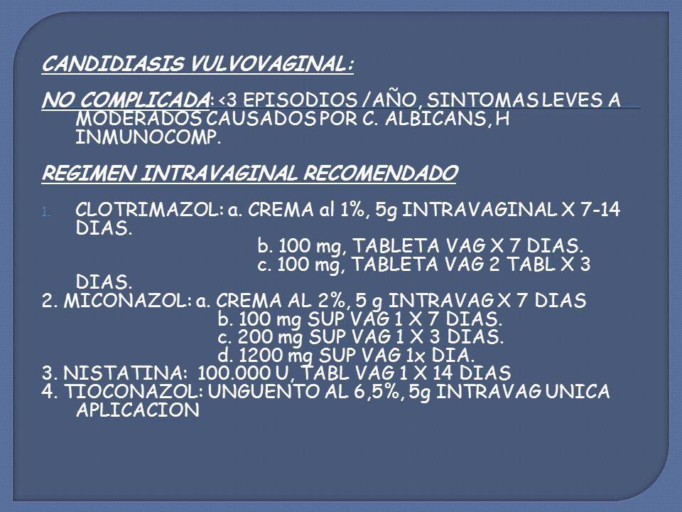 CANDIDIASIS VULVOVAGINAL: NO COMPLICADA: <3 EPISODIOS /AÑO, SINTOMAS LEVES A MODERADOS CAUSADOS POR C.