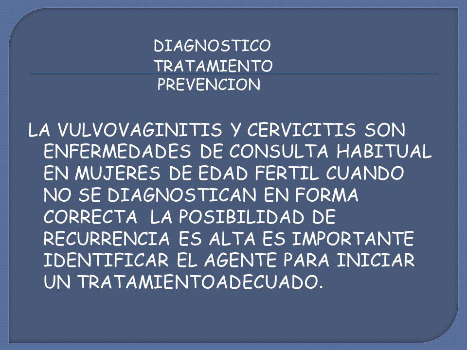 DIAGNOSTICO TRATAMIENTO PREVENCION LA VULVOVAGINITIS Y CERVICITIS SON ENFERMEDADES DE CONSULTA HABITUAL EN MUJERES DE EDAD FERTIL CUANDO NO SE DIAGNOSTICAN EN FORMA CORRECTA LA POSIBILIDAD DE RECURRENCIA ES ALTA ES IMPORTANTE IDENTIFICAR EL AGENTE PARA INICIAR UN TRATAMIENTOADECUADO.