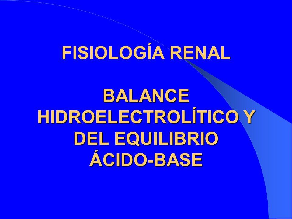 BALANCE HIDROELECTROLÍTICO Y DEL EQUILIBRIO ÁCIDO-BASE FISIOLOGÍA RENAL BALANCE HIDROELECTROLÍTICO Y DEL EQUILIBRIO ÁCIDO-BASE