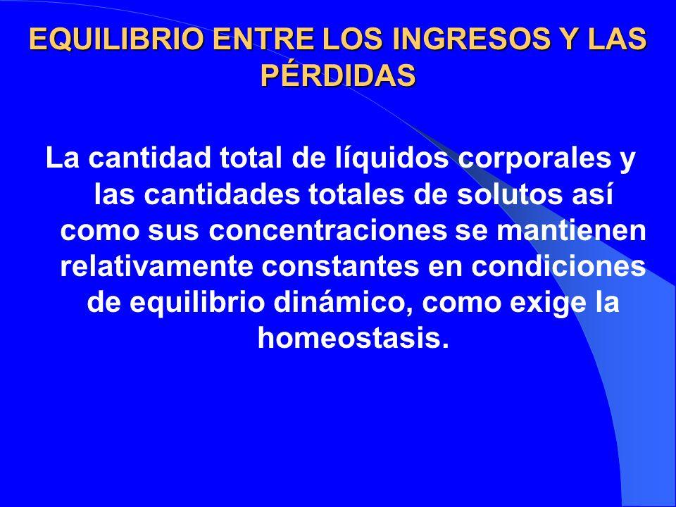 EQUILIBRIO ENTRE LOS INGRESOS Y LAS PÉRDIDAS La cantidad total de líquidos corporales y las cantidades totales de solutos así como sus concentraciones