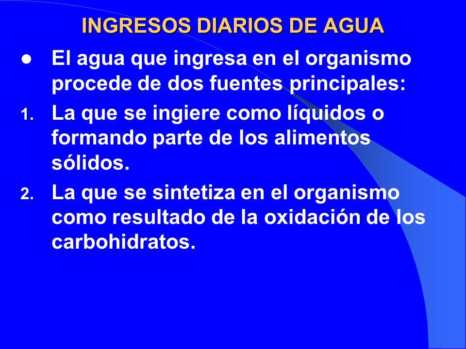 INGRESOS DIARIOS DE AGUA El agua que ingresa en el organismo procede de dos fuentes principales: 1. La que se ingiere como líquidos o formando parte d