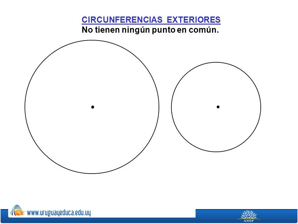 CIRCUNFERENCIAS EXTERIORES No tienen ningún punto en común.