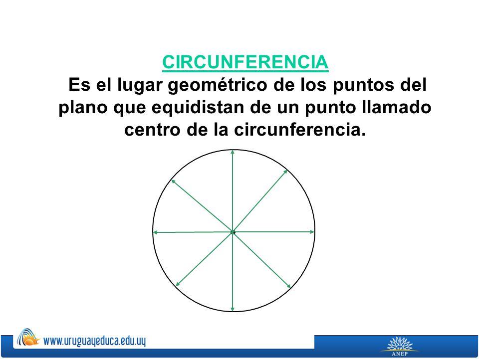 CIRCUNFERENCIA Es el lugar geométrico de los puntos del plano que equidistan de un punto llamado centro de la circunferencia.