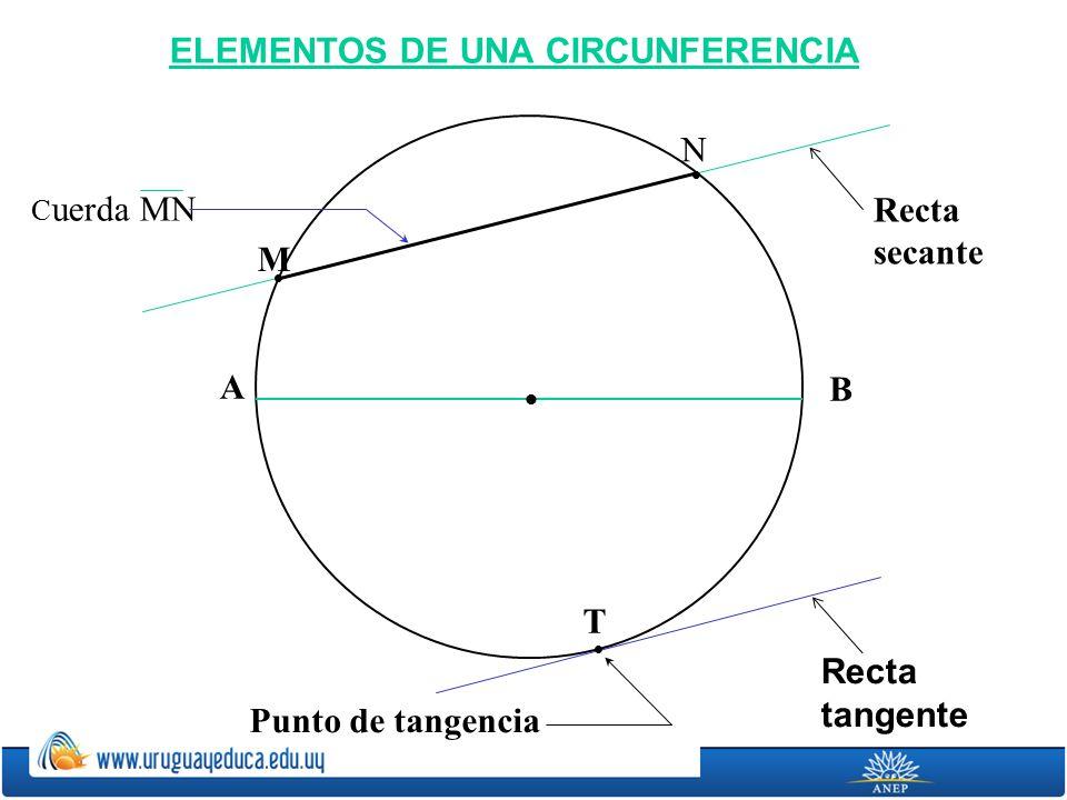 ELEMENTOS DE UNA CIRCUNFERENCIA A B Recta tangente Recta secante T Punto de tangencia N M C uerda MN