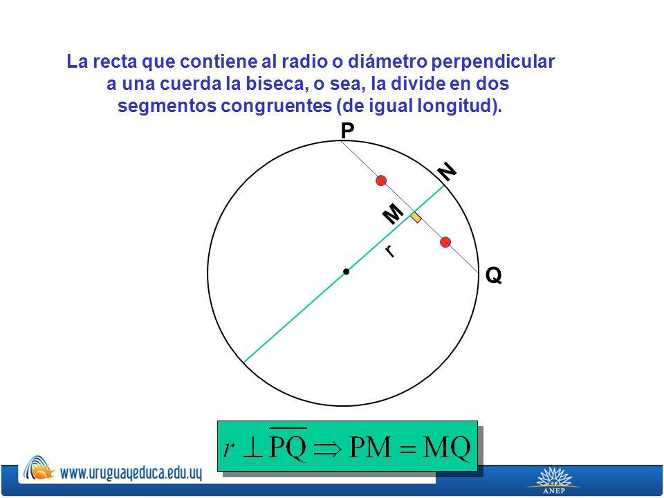 La recta que contiene al radio o diámetro perpendicular a una cuerda la biseca, o sea, la divide en dos segmentos congruentes (de igual longitud).