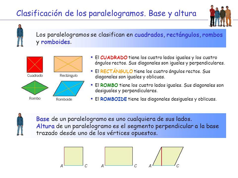 Clasificación de los paralelogramos. Base y altura Los paralelogramos se clasifican en cuadrados, rectángulos, rombos y romboides.  El CUADRADO tiene